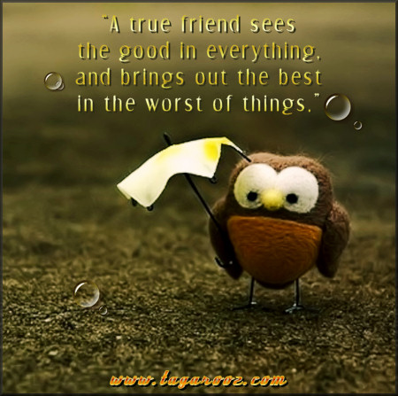 A true friend sees the good in everything and brings out the best in the worst of things