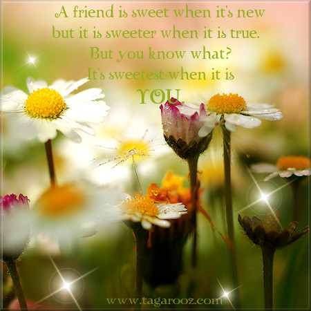 A friend is sweet when it's new but it is sweeter when it is true